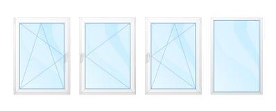 Windows avec les cadres blancs et l'ensemble bleu en verre d'isolement Illustration Libre de Droits