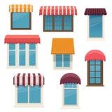 Windows avec les tentes extérieures photographie stock libre de droits