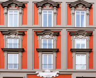 Windows and balconies. Of noble palace in Naples, Italy Royalty Free Stock Photo