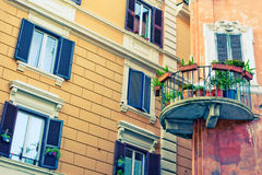 Windows and balconies with colours Stock Photo