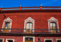 Windows Balcony Red Adobr Wall San Miguel de Allende Mexico Royalty Free Stock Photo