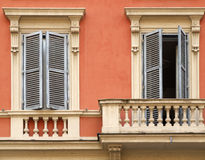Windows and balcony in Rome stock photos