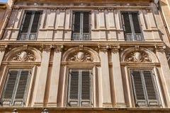 Windows barrocco in Marsala Fotografia Stock