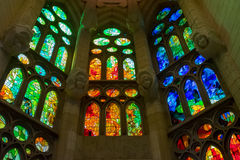 Windows. Basilica of the Sagrada Familia interior windows Stock Photos