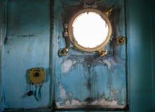 Windows in battleship Stock Photo