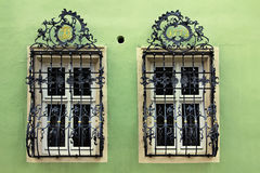 Windows with a beautiful curved black metal lattices, Germany stock photos