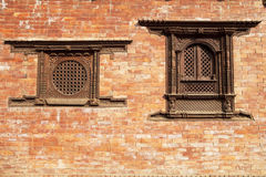 Windows, Bhaktapur, Nepal. Image of wooden windows in traditional Nepalese style at UNESCO's world heritage site of Bhaktapur, Nepal Stock Images