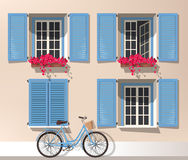 Windows and bicycle. Illustration of windows with shutters and bicycle royalty free illustration