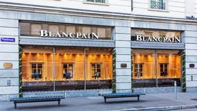 Windows of the Blancpain store in Zurich Stock Photo