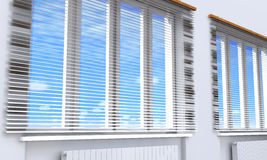 Windows with blinds in the room. Royalty Free Stock Photos