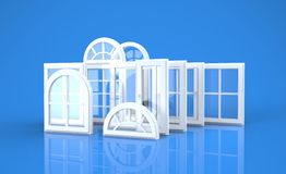 Windows and blue background Royalty Free Stock Images