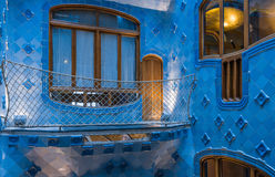 Windows and Blue tiles in nterior of Casa Batllo Stock Photos