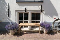 Windows, Blumen, Bank und Fahrrad - typisches niederländisches Straßenbild Stockfotos