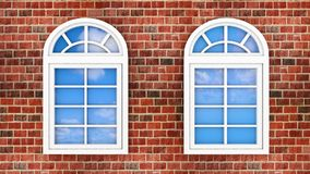 Windows on the brick wall Royalty Free Stock Photography