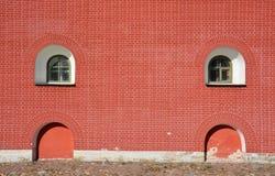 Windows at the brick wall Stock Image