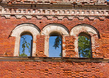 Windows of destroyed palace. Windows brick wall of destroyed palace Royalty Free Stock Photo