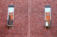 Windows of the building of a City Hall, Stockholm stock images