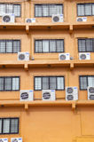 Windows of the building. Are painted orange Royalty Free Stock Image