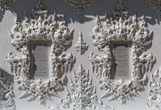 Windows in the building of the White Temple in Chiang Mai Royalty Free Stock Images