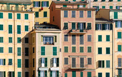 Windows in Camogli. Photo of a facade with windows in the village of Camogli Royalty Free Stock Photos