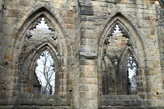 Windows of cathedral on Oybin castle and monastery Stock Photo