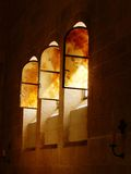 WINDOWS IN THE CHURCH OF THE MULTIPLICATION TABGHA, ISRAEL Stock Photos