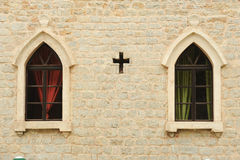 Windows of the church of St. John at Budva Stock Photography