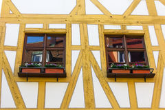 Windows close-up  in old half-timbered german house Stock Image
