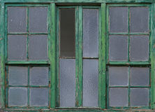 Windows. Closeup from old windows with green wooden frame royalty free stock images