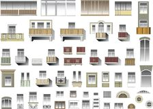 Set of windows and balconies in vector Stock Image