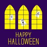 Windows con i fantasmi. Carta felice di Halloween. Immagini Stock