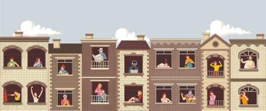 Windows con la gente de la historieta stock de ilustración