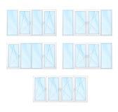 Windows con los marcos blancos y el sistema azul del vidrio aislados Imagen de archivo