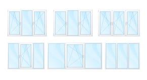 Windows con los marcos blancos y el sistema azul del vidrio aislados Imágenes de archivo libres de regalías