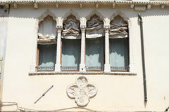 Windows with courtains in Venice Royalty Free Stock Images