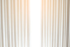 Windows Curtain with White Background Stock Photo