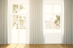 Windows and curtains Stock Image