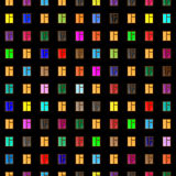 Windows da casa da alta altitude na noite ilustração do vetor
