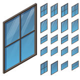 Windows dans la vue isométrique Illustration Stock