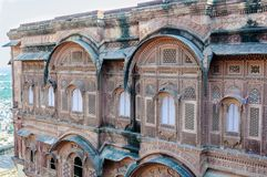 Windows de fort de Mehrangarh, Ràjasthàn, Jodhpur, Inde Photos stock