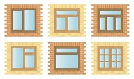 Windows de madeira exterior ajustado Foto de Stock Royalty Free