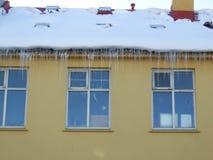 Windows de Reykjavik, del asiduo, del hielo y de la nieve Foto de archivo