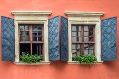Windows decorated flowerpot Stock Photography