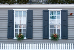 Windows decorated for the holidays in Williamsburg, Virginia. Royalty Free Stock Image