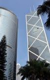 Windows del edificio del negocio en Hong Kong Imagenes de archivo