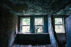 Windows in destroyed building, abandoned royalty free stock photos