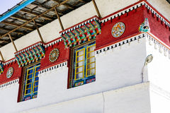 Windows detail of Tibetan Buddhism Temple in Sikkim, India.  Royalty Free Stock Images