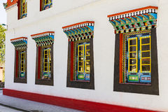 Windows detail of Tibetan Buddhism Temple in Sikkim, India stock photography