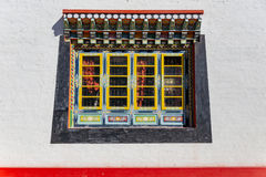 Windows detail of Tibetan Buddhism Temple in Sikkim, India royalty free stock photo