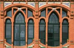 Windows detalj av en modernism royaltyfri fotografi